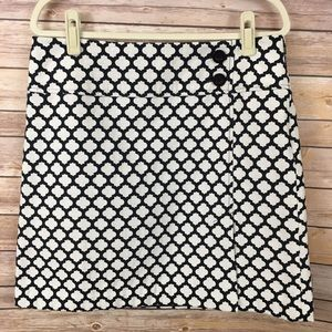 Talbots Black & White Print Skirt